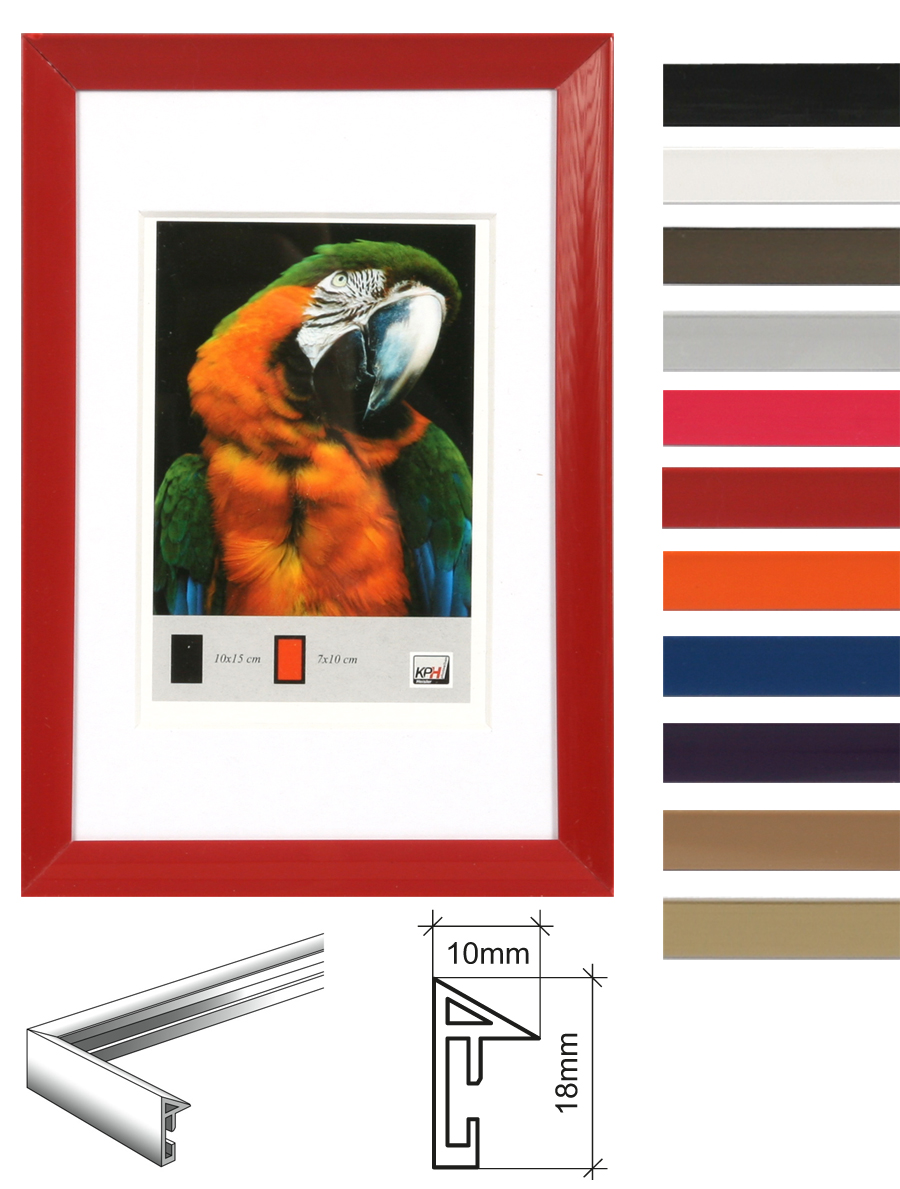 timeless kunststoff bilderrahmen 10x15 bis 40x50 mit passepartout foto rahmen idealfoto. Black Bedroom Furniture Sets. Home Design Ideas