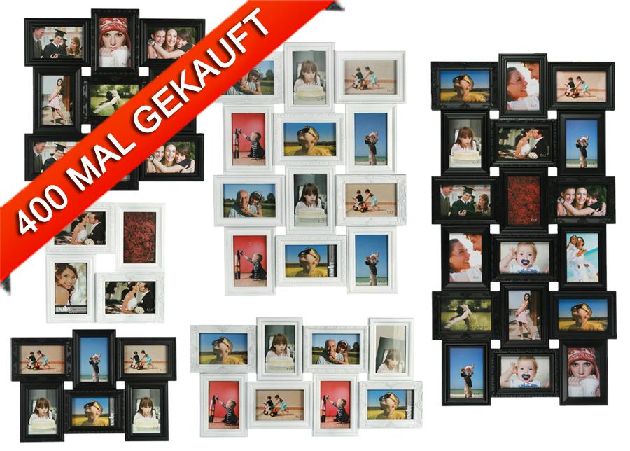 3d bilderrahmen f r 4 bis 18 fotos schwarz wei galerie collage foto rahmen idealfoto. Black Bedroom Furniture Sets. Home Design Ideas