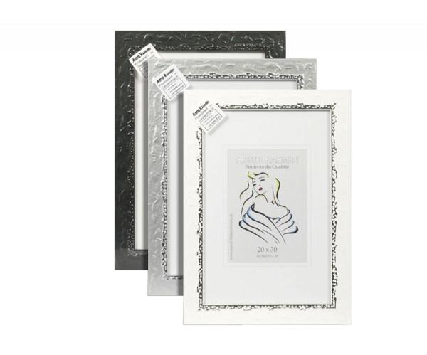 Lounge Style Holz Bilderrahmen 13x18 bis 40x60 Schwarz Silber Weiß Foto Rahmen