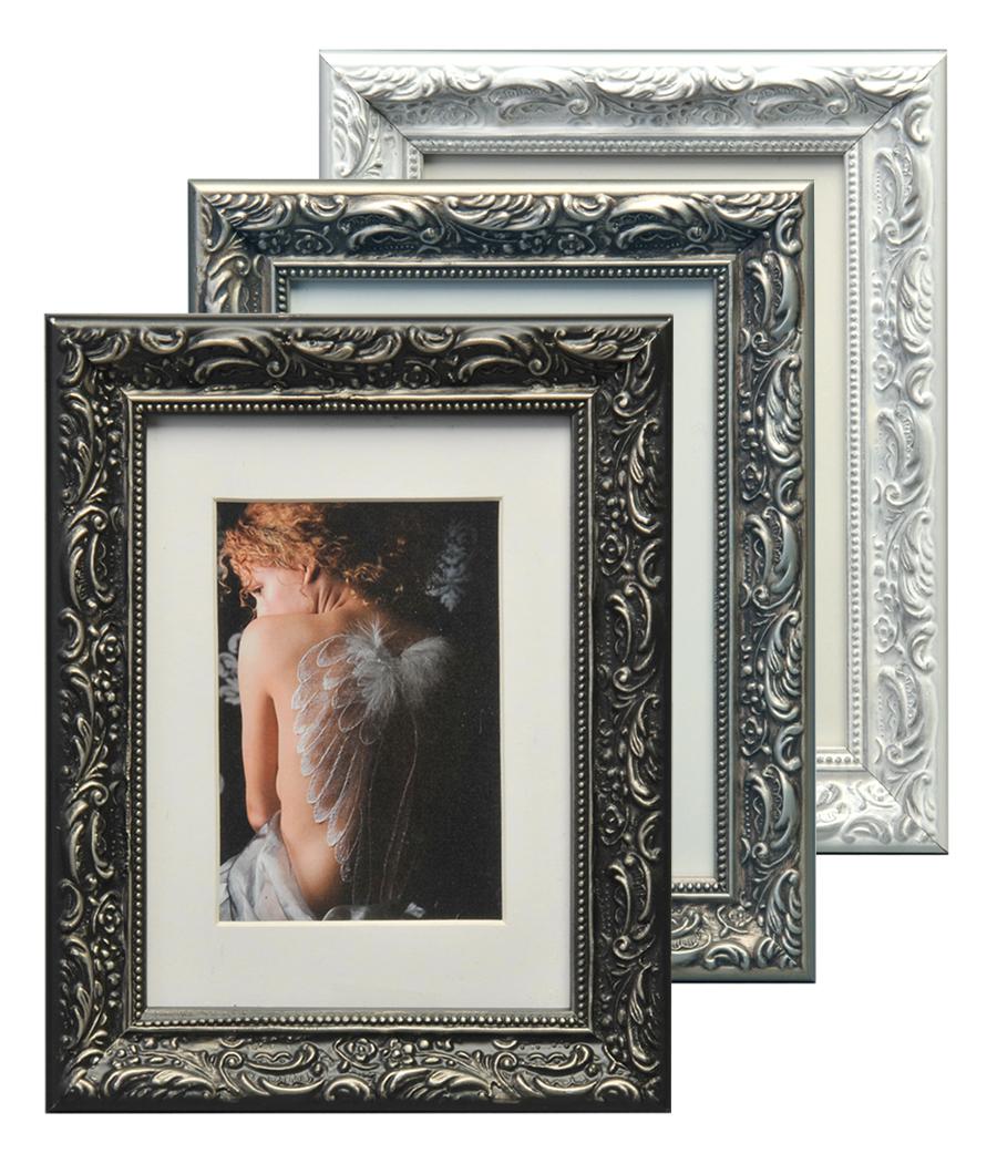 Chic Baroque Bilderrahmen aus Holz 13x18 bis 50x70 Weiß Schwarz Grau ...