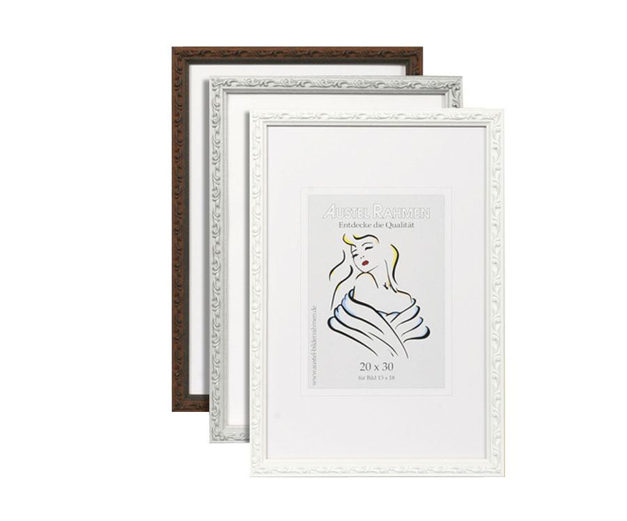 classic frame holz bilderrahmen in 13x18 bis 40x60 cm wei silber braun idealfoto. Black Bedroom Furniture Sets. Home Design Ideas
