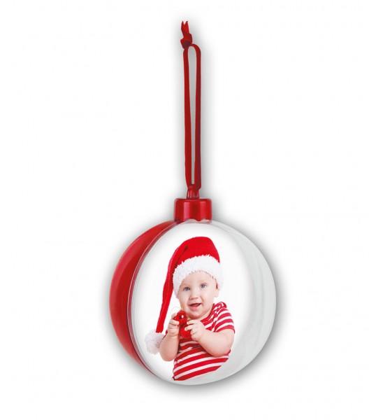 Xmas Weihnachtskugel Rot 9,7 cm Christbaum Tannenbaum Schmuck Foto Kugel