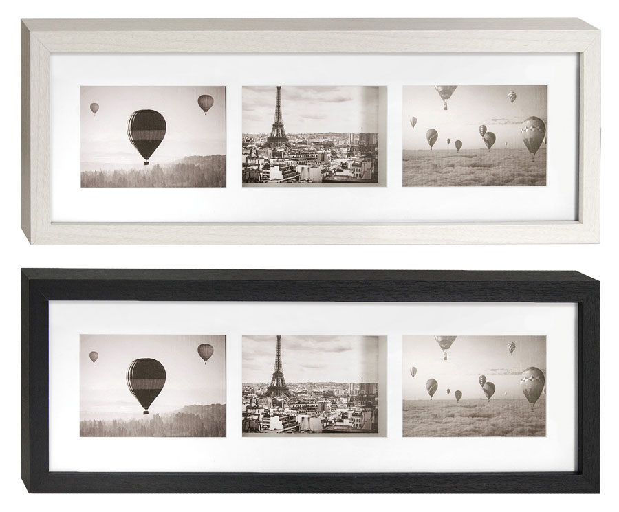 pigalle bilderrahmen f r 3 fotos in 10x15 cm schwarz wei. Black Bedroom Furniture Sets. Home Design Ideas