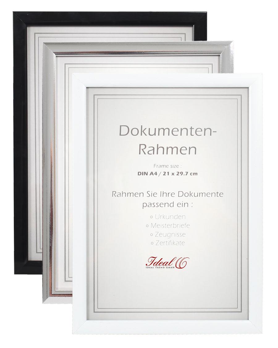 Dokument Bilderrahmen In Schwarz Silber Weiß 21x297 Din A4 Urkunde