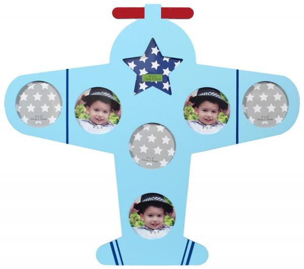 Baby Bird Bilderrahmen in Blau für 7 Fotos Foto Collage Kinder Galerie Rahmen
