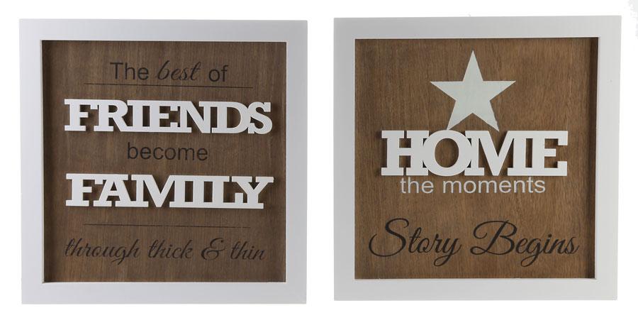 moderne spr che bilderrahmen 22x22 cm friends family home rahmen idealfoto. Black Bedroom Furniture Sets. Home Design Ideas