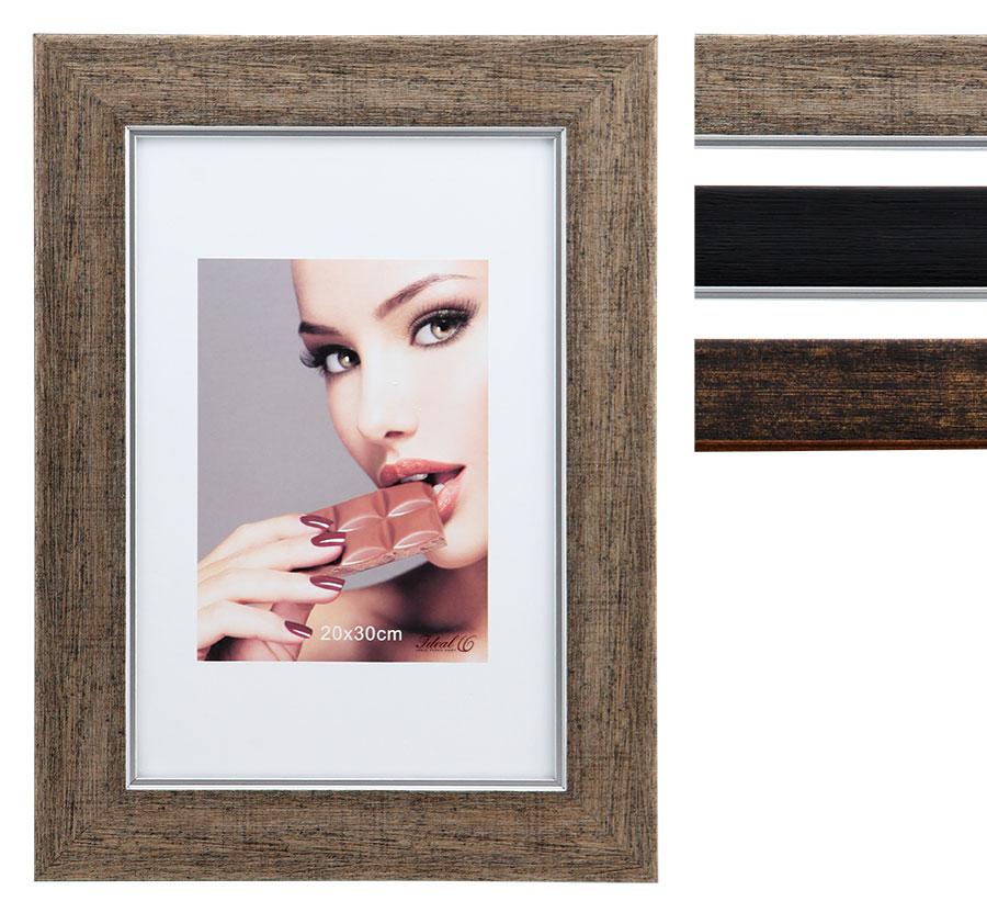 genua kunststoff bilderrahmen 13x18 bis 50x70 braun kupfer schwarz foto rahmen idealfoto. Black Bedroom Furniture Sets. Home Design Ideas