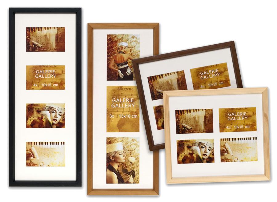hr 52 galerie holz bilderrahmen f r 3 oder 4 fotos collage mit passepartout idealfoto. Black Bedroom Furniture Sets. Home Design Ideas