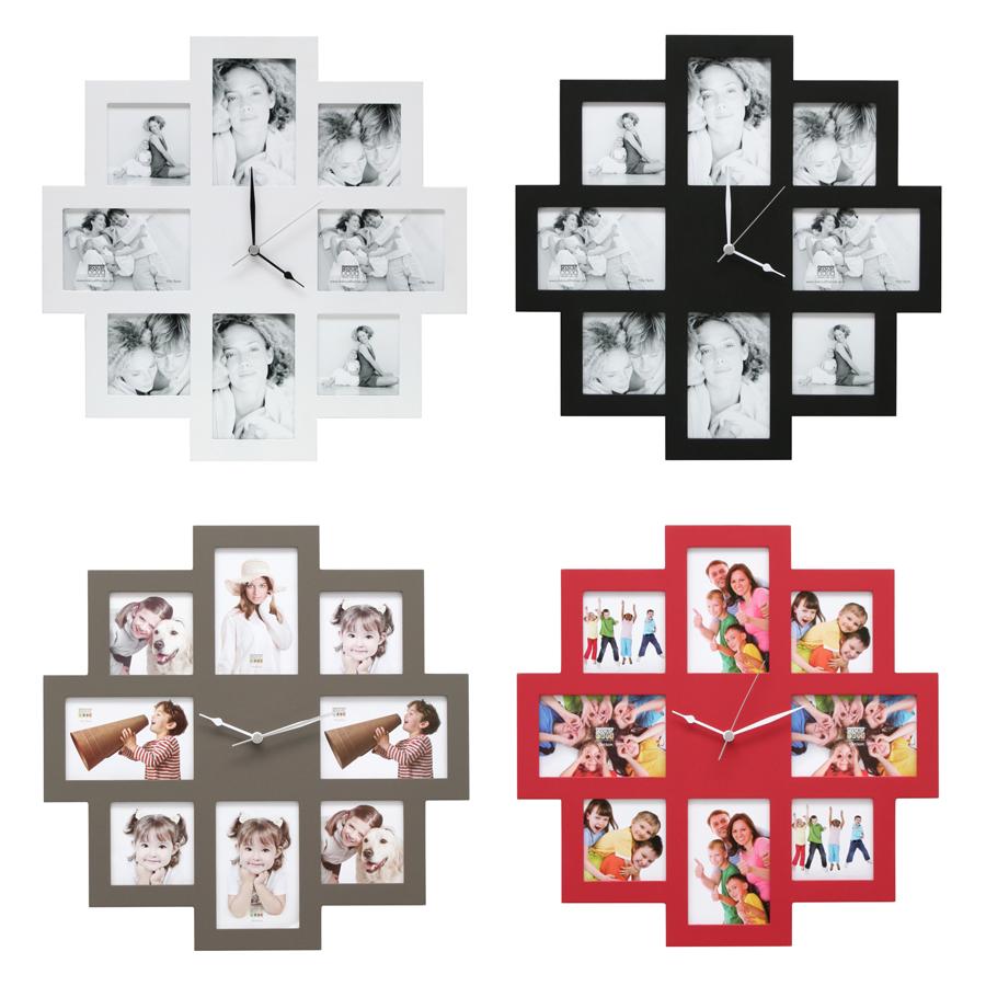 * Fotouhr 05 aus Holz in Blau Rosa oder Schwarz für 4 Bilder *