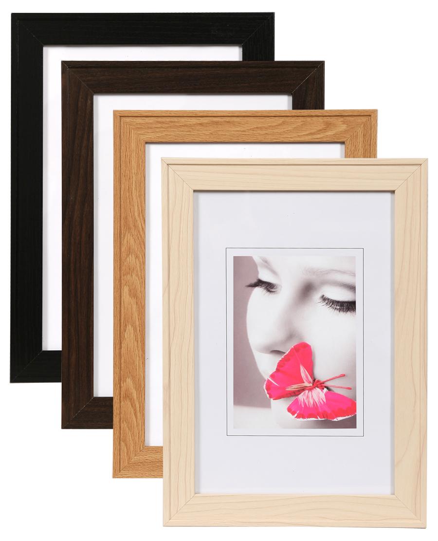 hr 26 bilderrahmen holz rahmen in buche natur nuss schwarz. Black Bedroom Furniture Sets. Home Design Ideas