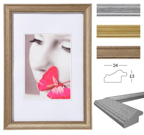 Lounge Bilderrahmen 10x15 bis 40x50 cm Gold Silber Stahl Foto Rahmen